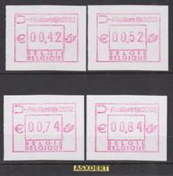 ATM 108** Reeks Kortrijk 2002  / 4 Waarden - Automatenmarken (ATM)