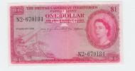 British Caribbean 1 Dollar 1956 AXF Banknote P 7b  7 B - Ostkaribik