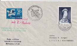 Liechtenstein 1961  Cover Rakete Raketen Post Espace Space Vignette Vaduz BELLINZONA - Briefe U. Dokumente