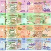 COOK ISLANDS 3 10 20 50 Dollars ND (1992) P 7-10 UNC 4 Banknotes - Cook Islands