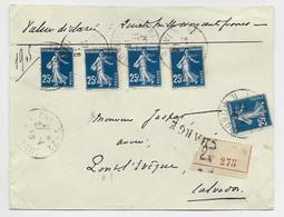 FRANCE SEMEUSE 25C BLEU FONCE N°140X5 LETTRE CHARGE PARIS 22 27.4.1916 POUR LE CALVADOS - 1906-38 Semeuse Camée