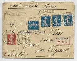 FRANCE SEMEUSE 25CX4 N°140 + 10C LETTRE CHARHE MACHECOUL 29.6.1921 LOIRE INFRE - 1906-38 Semeuse Camée