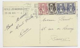 FRANCE CHAINE 10C+40C+50CX2 CARTE  5 MOTS MEC FETES LES MERES NICE RP 30 AVRIL 1946 - 1941-66 Wapenschilden