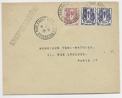 FRANCE CHAINE 40C +50C PAIRE LETTRE PARLEMENT 16.1.47 CONGRES DE VERSAILLES TARIF IMPRIME - 1941-66 Wapenschilden