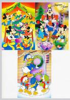 "CPSM / CPM 10.5 X 15 Walt Disney Mickey Minnie Dingo Donald Neveux Sapin Noël ""Joyeuses Fêtes""  Série De 3 Cartes - Altri"