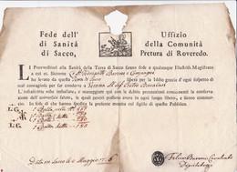 1756 FEDE DI SANIITA' Rilasciata Dalla Comunita' Di Sacco Pretura Di Roveredo (Rovereto)segni Di Fumigazione E Parte Cen - 1. ...-1850 Prephilately