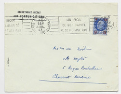 PETAIN 1FR50 BLEU LETTRE ENETET SECRETARIAT D'ETAT AUX COMMUNICATIONS PARIS IX 26 AVRIL 1943 - Oorlog 1939-45