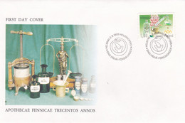Finlande 1989 1050 FDC Tricentenaire Des Pharmacies De Finlande Bouteille Mortier Alambic Et Digitale - Farmacia