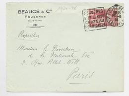 JEUX OLYMPIQUES 25C SEUL LETTRE COVER DAGUIN FOUGERS 23.5.1924 ILLE ET VILAINE - 1921-1960: Modern Tijdperk