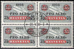 """Schweiz Suisse 1938: """"PRO AERO"""" Zu Flug 26 Mi 325 Yv PA 26 Im Block Mit Stempel BERN 22.V.38 (Zu CHF 35.00) - Oblitérés"""