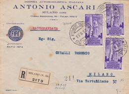 1933 GIOCHI UNIVERSITARI Tre C.50 Su Raccomandata Milano (29.9) Per Citta' - Marcofilía