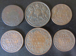 Inde Britannique / East India Company - 6 Monnaie Dont X Cash Madras 1803, Half Anna 1835 - Colonies