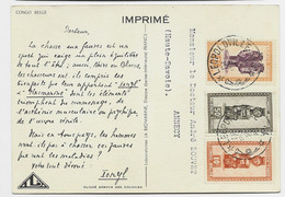 CONGO BELGE 10C+50C+1FR CARTE CHASSE PUB IONYL LEOPOLDVILLE 25.2.1950 - 1947-60: Covers