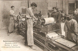 Bonne Cpa Du Cher, Saint-Amand (18), Biscuiterie Leroy, Machine à Laminer Et Découper Les Petits-beurres, 1912, Bon état - Saint-Amand-Montrond