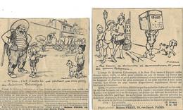 Humour / Chien / 4 Pub Coupures Journal / FRERE à PARIS AUTOPLASME, BELLOC LABARRAQUE Illustrateur POULBOT - Pubblicitari