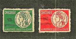 FISCAUX FRANCE CHICOREE 250 Gr ROUGE  Et 100 Gr Vert N°19A Et 20A - Fiscaux