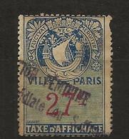 FISCAUX  AFFICHES VILLE DE PARIS N°9 27 C BLEU - Fiscaux