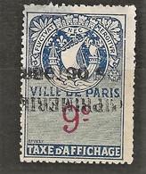 FISCAUX  AFFICHES VILLE DE PARIS N°7 9 C BLEU - Fiscaux