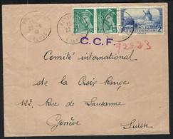 FRANCE 1940:  LSC De La Creuse Pour La Croix-Rouge à Genève Affr. à 2,50F - Kriegsausgaben