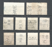 Perfins Great Britain , 10 Old Stamps - Perforadas