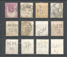 Perfins Great Britain , 12 Old Stamps - Perforadas