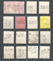 Perfins Great Britain , 15 Old Stamps - Perforadas