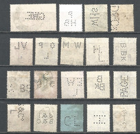Perfins Great Britain , 19 Old Stamps - Perforadas