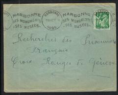 FRANCE 1940:  LSC De Narbonne Pour La Croix-Rouge à Genève Affr. à 1F - Kriegsausgaben
