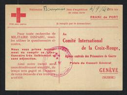 FRANCE 1940:  CP En Franchise Pour La Croix-Rouge à Genève - Kriegsausgaben