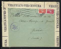 FRANCE 1941:  LSC De Nice Pour La Croix-Rouge à Genève Affr. De 4F Avec Censure Italienne - Kriegsausgaben