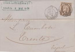 1876 FRANCIA Cerere C.30 Su Lettera Completa Testo Lione (5.5) Per L'Austria - 1876-1878 Sage (Type I)