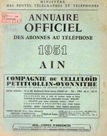 ANNUAIRE - 01 - Département Ain - Année 1951 - Annuaire Officiel Des Postes - 96 Pages - Telefonbücher