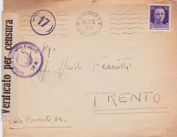 1943 LUBIANA/LJUBLJANA Annullo Meccanico (26.2) Su Busta Affrancata Imperiale C.30 - Marcofilie