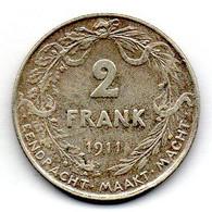 BELGIUM, 2 Francs, Silver, Year 1911, KM #75, DER BELGEN - 08. 2 Francs