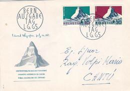 """1965-Svizzera S.2v.""""anniversario Conquista Del Cervino""""su Fdc Illustrata - FDC"""