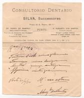Medical Prescription Portugal 1904 * Consultório Dentário Silva * Receita Médica Carimbo Farmácia Oliveira * Porto - Portugal