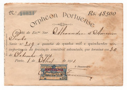 Orfeão Portuense * Cobrança De Quota Associado * Recibo Selado 1911 * Orpheon Portuense * Facture * Invoice - Portugal