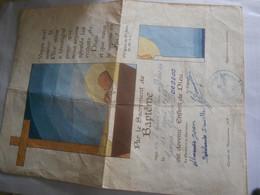 Papier Vieux Certificat  Baptême Illustree - Collections