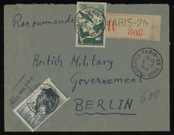 TREASURE HUNT [01563] France 1949 Reg. Air Mail Cover From Paris To Berlin With Landmarks 20f+Centaurus And Airplane 40f - Lettres & Documents