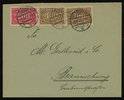 TREASURE HUNT [01571] Germany 1923 Infla Cover From Hildesheim To Braunschweig Bearing 200 M Carmine+400 M Brown (x2) - Infla