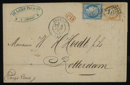 """TREASURE HUNT [01573] France 1874 Cover From Cognac To Rotterdam, Netherlands, Bearing Ceres 10c + 25c, PC """"1065"""" Pmk. - 1871-1875 Cérès"""