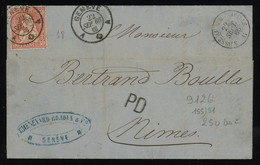 TREASURE HUNT [01583] Switzerland 1866 Cover To Nimes, France, Bearing Perforated Seated Helvetia 30rp Vermilion Red - Lettres & Documents