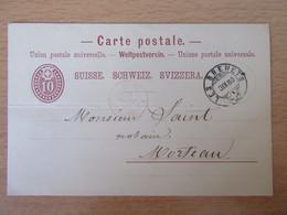 """Suisse - Entier 10c Circulé Entre Les Brenets Et Morteau - CàD Rouge """"Suisse Morteau"""" 4 Septembre 1880 - Entiers Postaux"""
