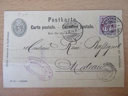 Suisse - Entier 5c 1894 - Chaux De Fonds Vers Morteau - Timbre En Supplément - Entiers Postaux