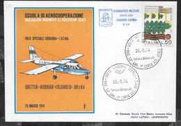 DAS  BRITTEN-NORMAN ISLANDER GUIDONIA/LATINA * 26.5.74* ANNULLO SPECIALE - BUSTA UFFICIALE - Posta Aerea