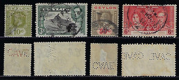Ceylon1904 / 1965 4 Stamp With Perfin CAVE FromH. W. Cave & Co Ltd Bookstorebicycle & Motorcycle Dealer From Colombo - Ceilán (...-1947)