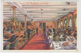 """BATEAUX - PAQUEBOTS - Le Paquebot """"ESPAGNE """" - Salle à Manger - Illustrateur LESSIEUX - Paquebote"""