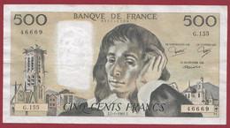 """France 500 Francs """"Pascal"""" Du 07/01/1982.J--ALPH.G.155 -- .dans L 'état (P.179) - 500 F 1968-1993 ''Pascal''"""