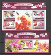 ML652 2015 MALDIVES PLANTS FLOWERS ORCHIDS BUTTERFLIES 1KB+1BL MNH - Farfalle