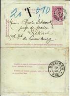Carte-Lettre De BRUXELLES(EST) Du 28 SEPT 1904 à DIEKIRCH (G-D Luxembourg) Taxée - Postbladen